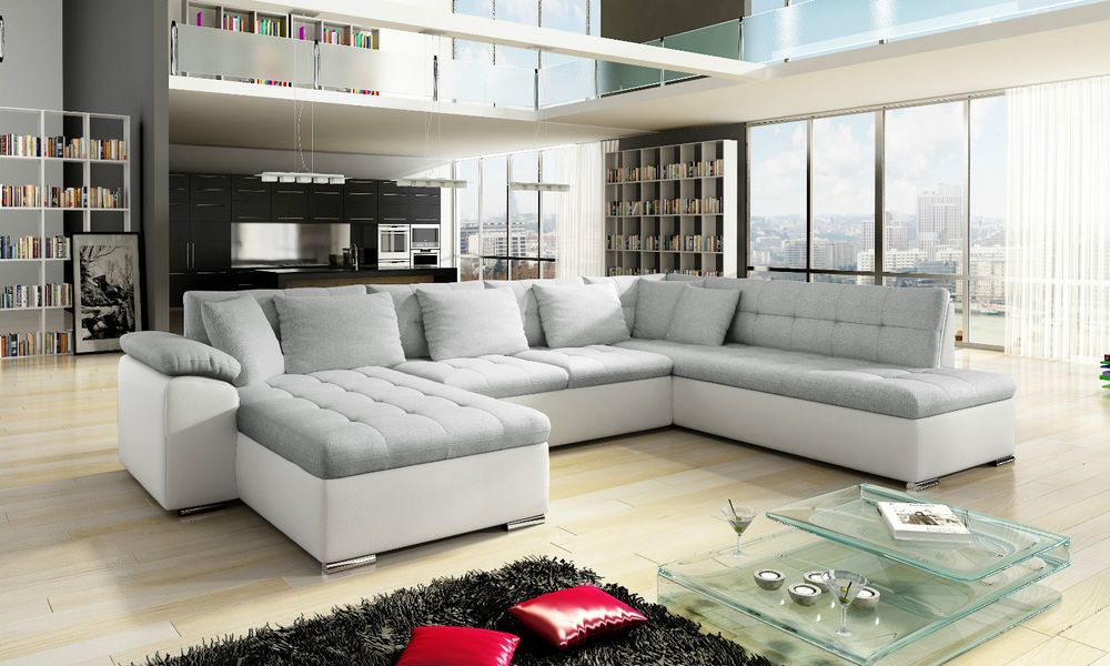 New Scafati Fabric And Leather Corner Sofa With Bed In Black Grey White Grey Leather Corner Sofa Corner Sofa Bed Corner Sofa