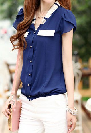 Office Lady Candy Color Short Sleeve Shirt Top