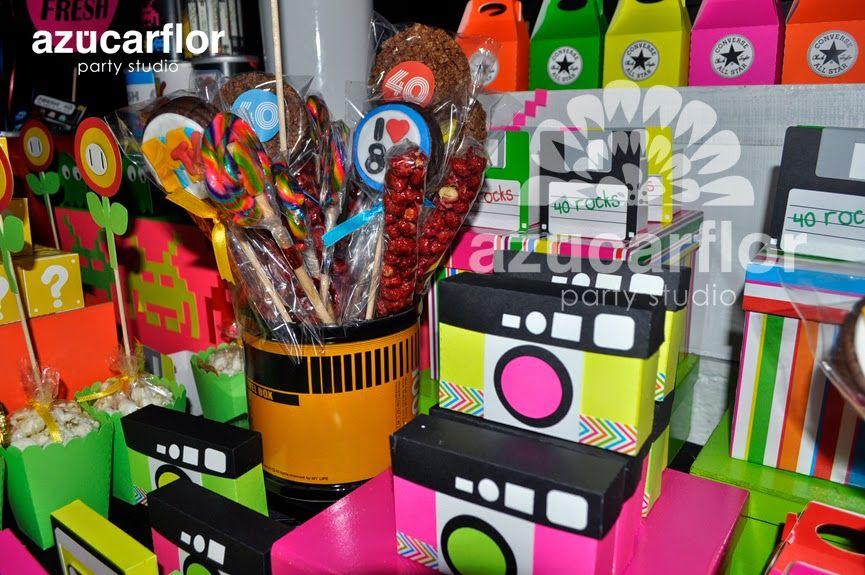Azucar flor party studio mesa de dulces ochentera for Decoracion 80 90