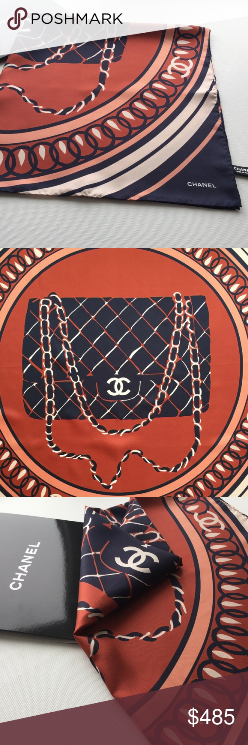 100 Silk CHANEL Black Bag Geometric Print Scarf Overall Condition is NEW No signs of usage Perfect decoration to any of your outfits Please check photos for more details...