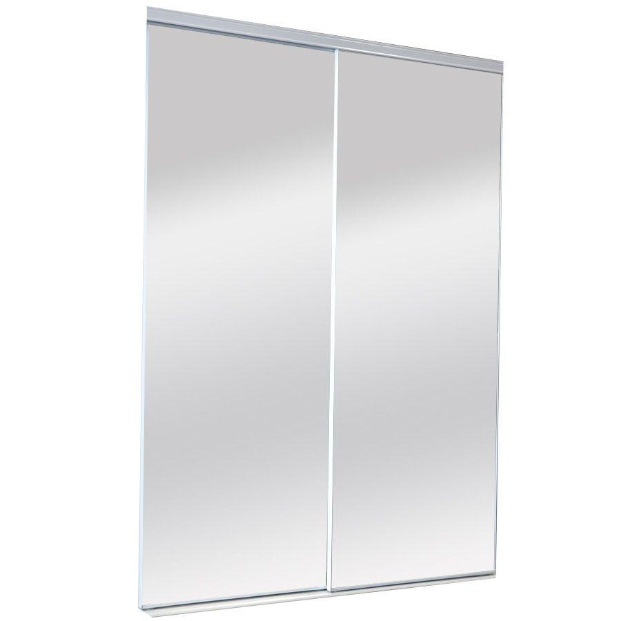Shop ReliaBilt Mirror Panel Sliding Closet Interior Door (Common: 72-in x 80-in; Actual: 72-in x 80-in) at Lowes.com