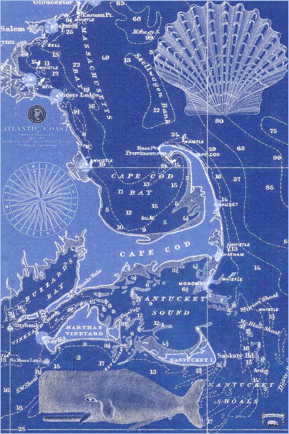 Cape Cod Martha S Vineyard And Nantucket 1900 Nautical Chart Tea