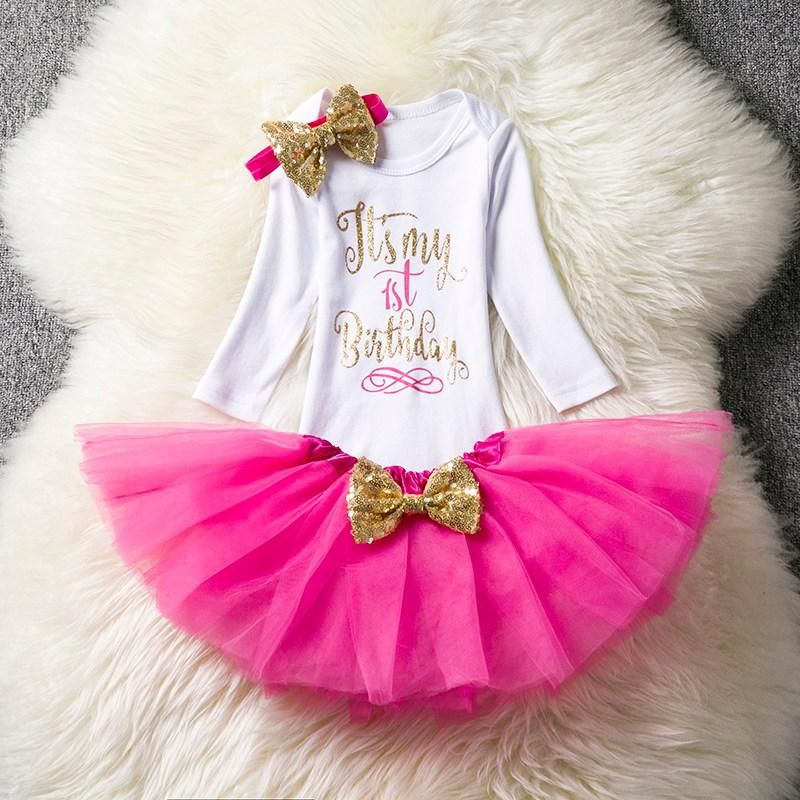 bd30cef378ca Ai Meng Baby First Birthday Outfits Tutu Tulle 1 Year Party ...