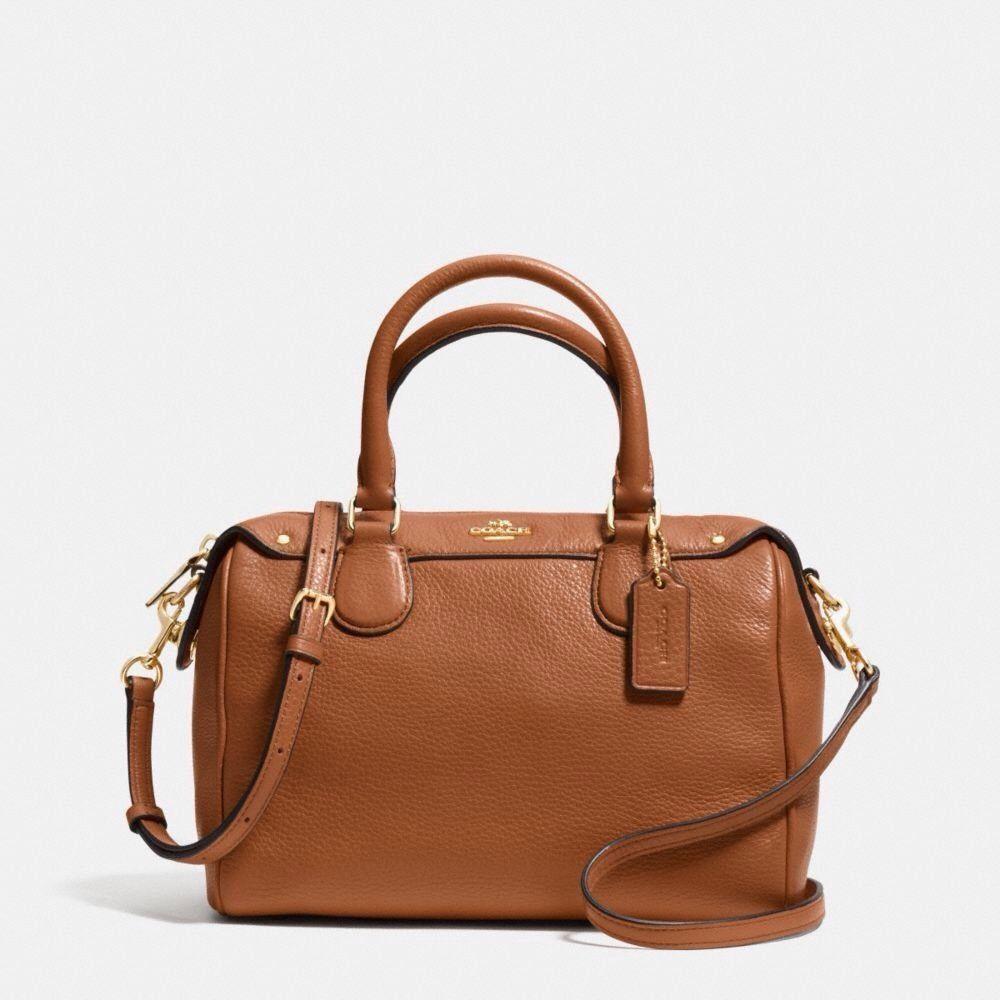 579694622 Coach Mini Bennett Satchel Medium Shoulder Bag Crossbody Leather Saddle  Brown #Coach #Satchel