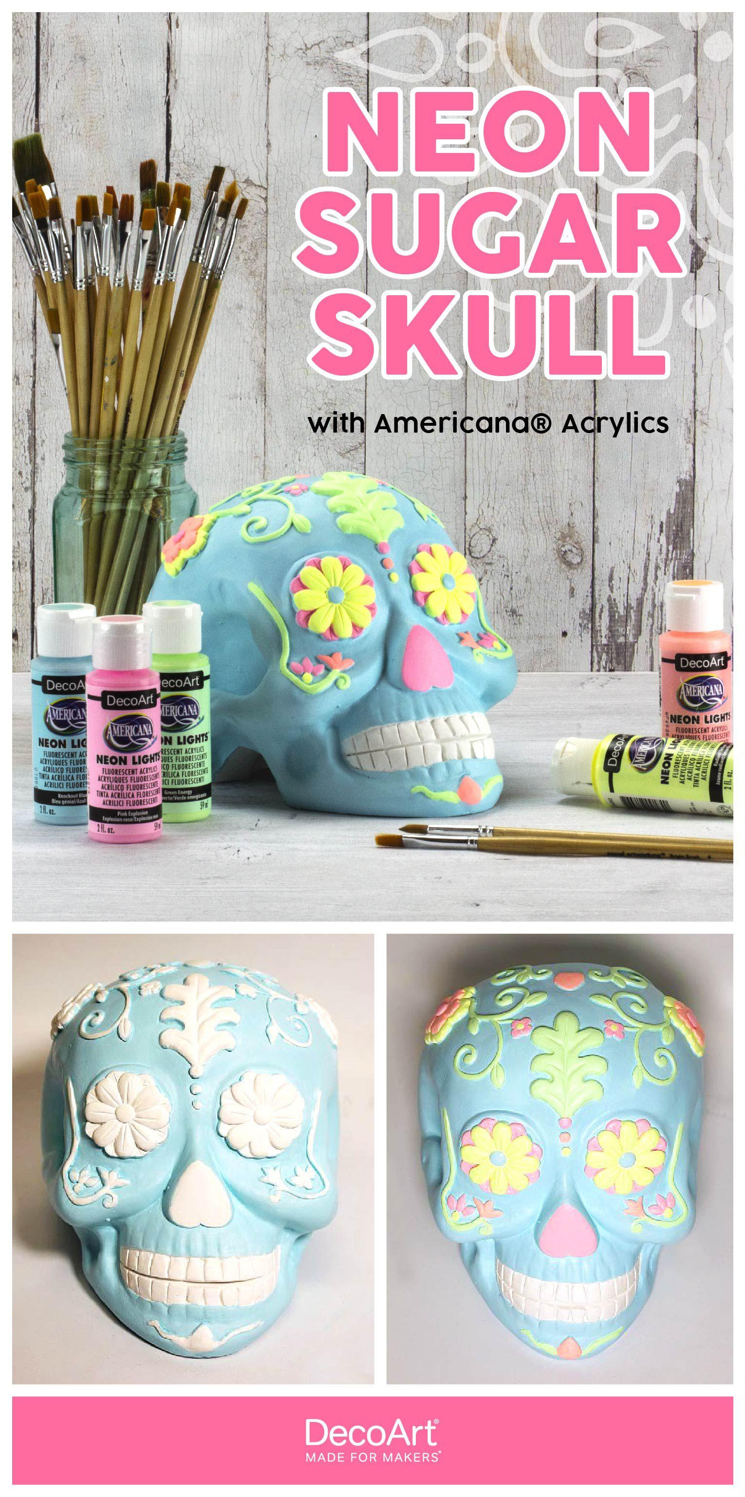 Ceramic Neon Sugar Skull Project By Decoart Sugar Skull Painting Day Of The Dead Diy Diy Ceramic