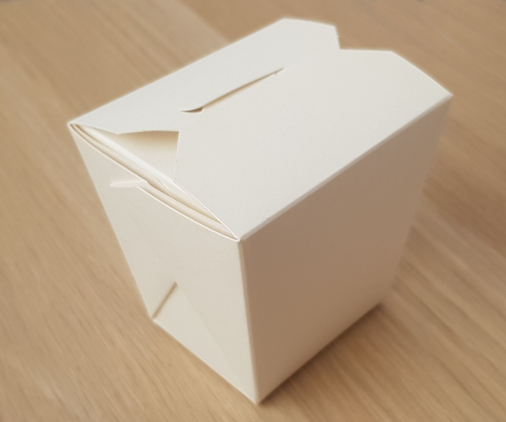 89mm Deep Noodle box, white with PE liner, Base 68x54mm, Top