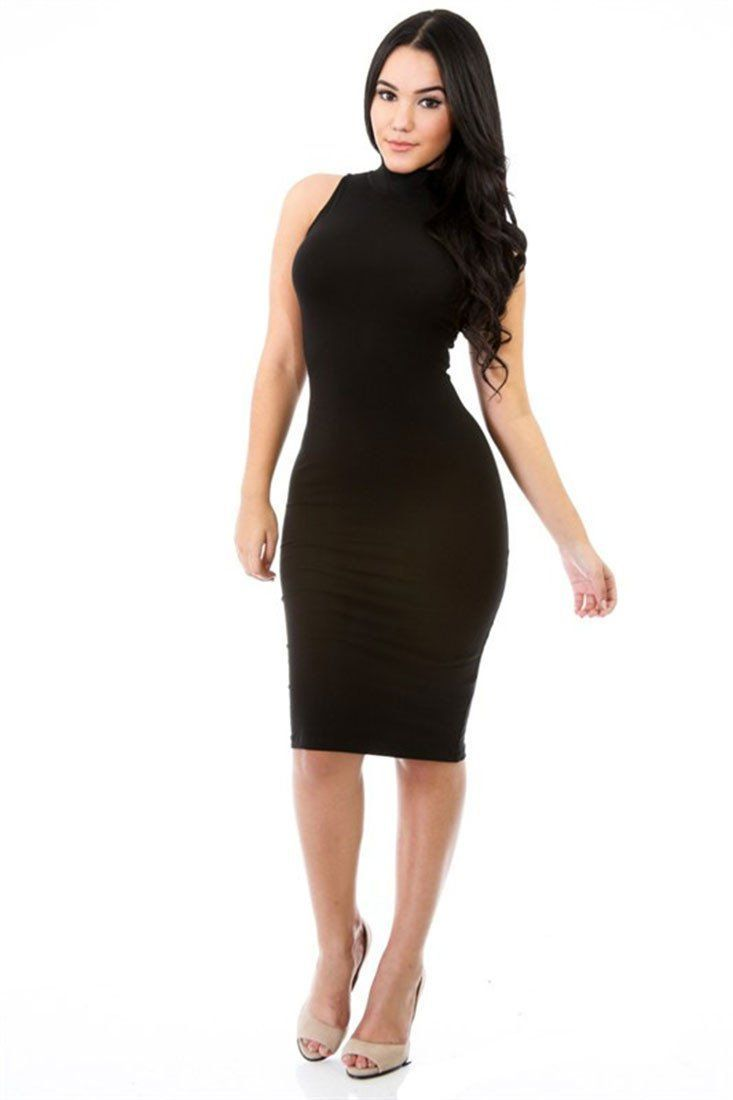 d4ae25788b74 Cotton Spandex Turtle Neck Sleeveless Solid Mini Dress (Black ...