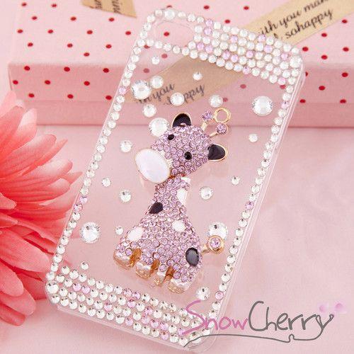 iPhone 4 4S Swarovski Crystal Delicate Cute Pink Giraffe Bling Bling Cover Case | eBay
