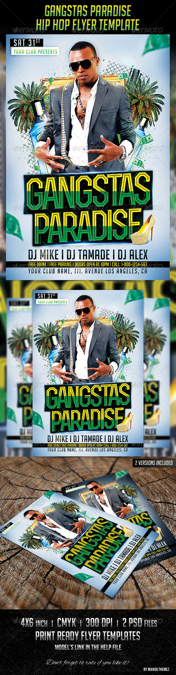 Gangstas Paradise Party Flyer Template  Party Flyer Flyer