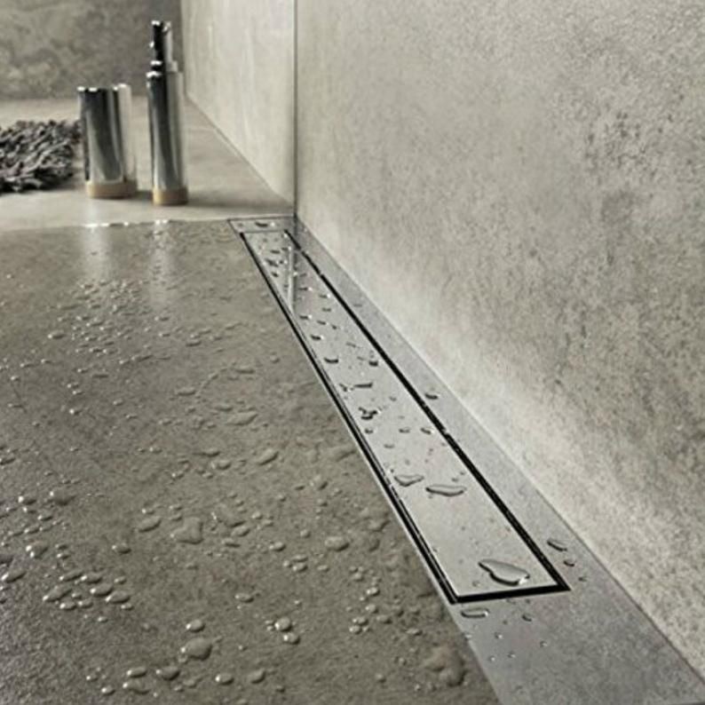 Smooth Surface Flat Stainless Steel Long Shower Channel Drain Etsy Shower Drain Walk In Shower Floor Drains