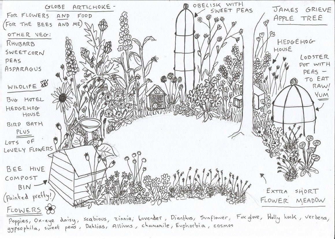 A plan for a flower patch on Katie\'s allotment (Lavender and Leeks ...