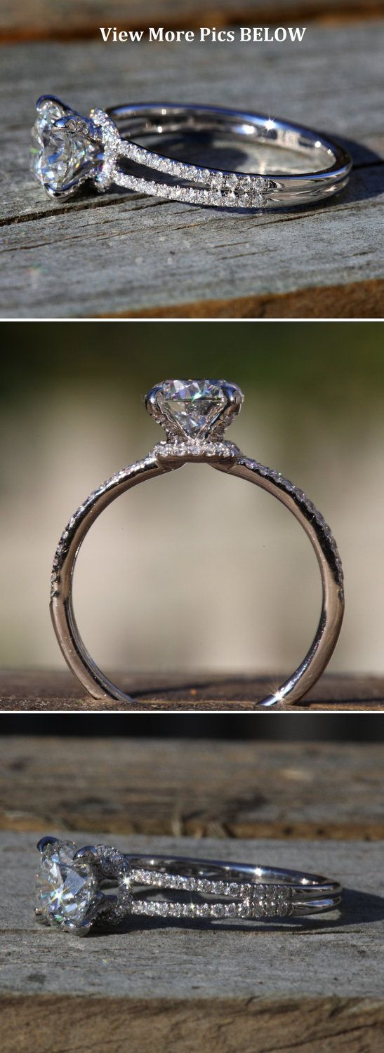 14k White gold Diamond Engagement Ring Halo at by BeautifulPetra