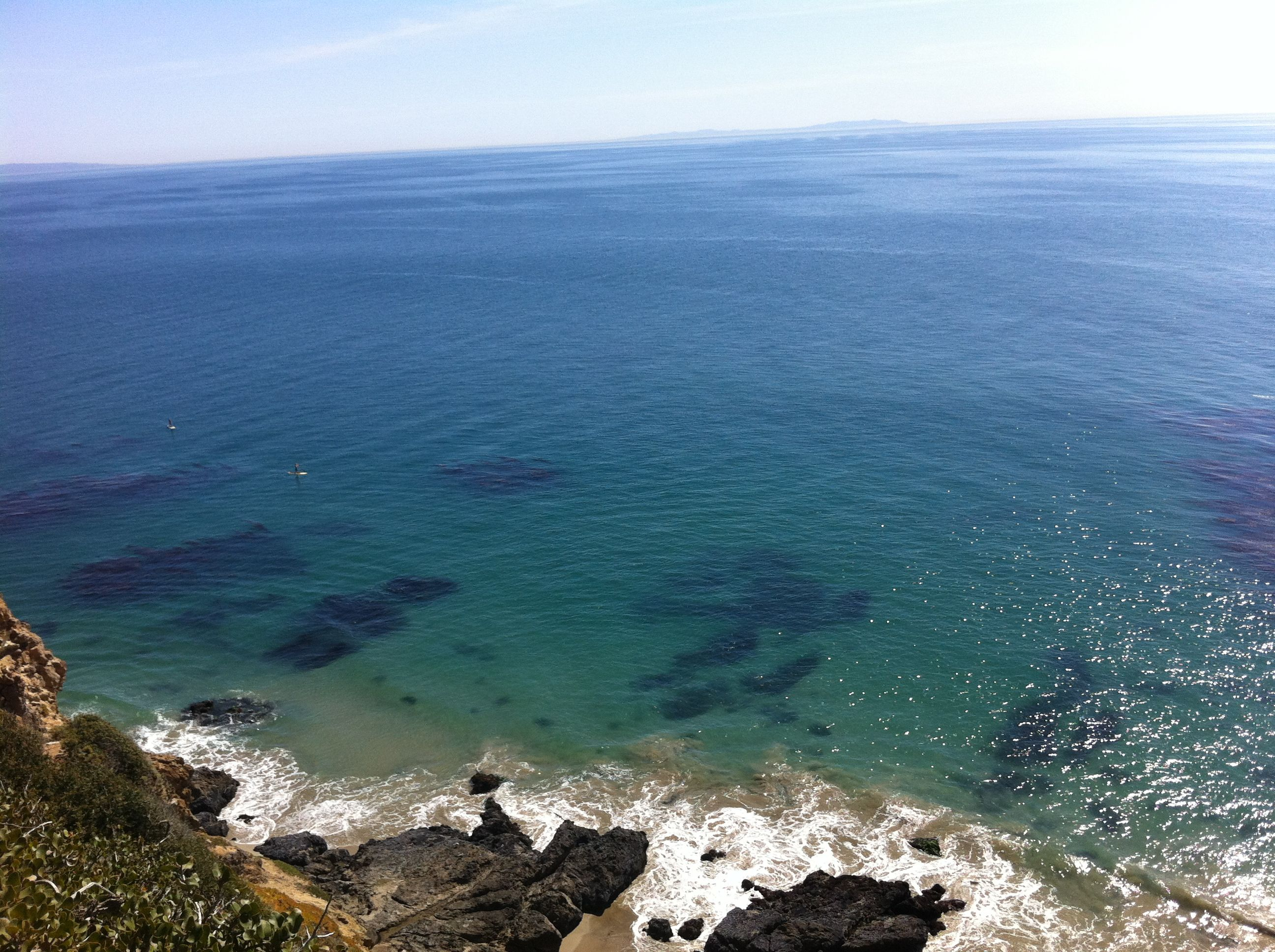 The view from the top of Point Dume.  Chili Sandals love the beach.