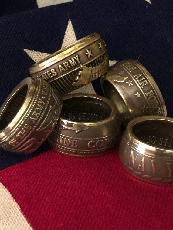 Coin By Hobby Veterans Rings Unique Gift Ring Bands Birthday Military Ch