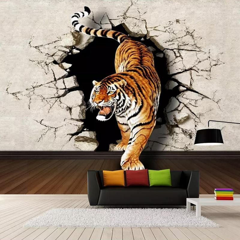 Custom Photo Wallpaper Modern 3d Stereoscopic Tiger Breaking Wall Large Wall Painting Living Room Sofa Background Mural Picture Large Wall Paintings Tiger Wall Painting 3d Wall Murals