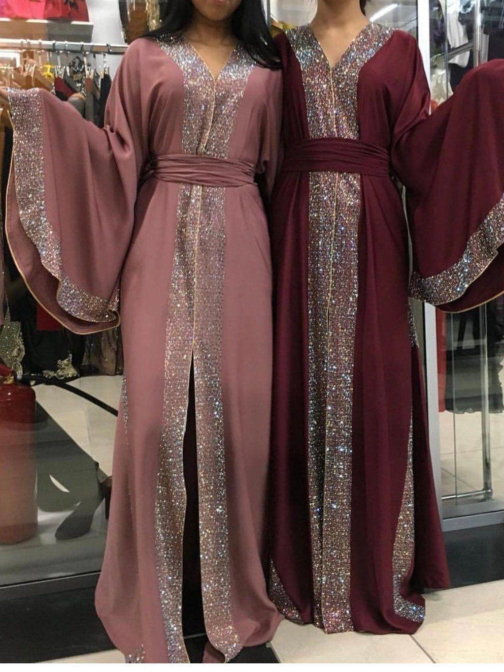 Amazing Detailed Farasha with Pearl-Like Stones All Around Dubai Morocco Dress