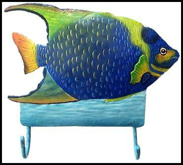 Beau Tropical Fish Wall Hook   Hand Painted Metal Wall Decor   Tropical Metal  Art Towel Hanger