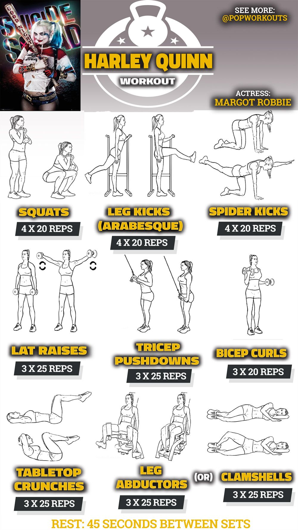 Margot Robbie Workout For Suicide Squad   Pop Workouts