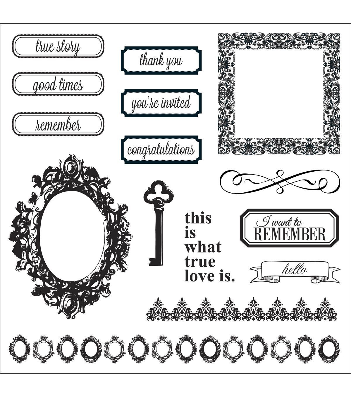 Fiskars Teresa Collins Cling Stamps 8 X8 Sheet Thank You