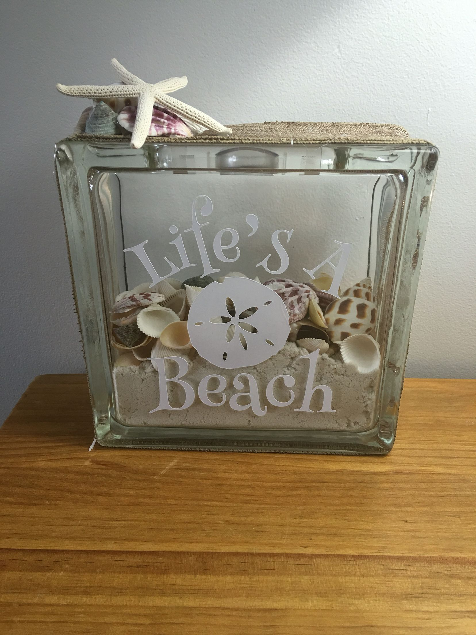Life 39 s a beach glass block christmas pinterest for Glass boxes for crafts