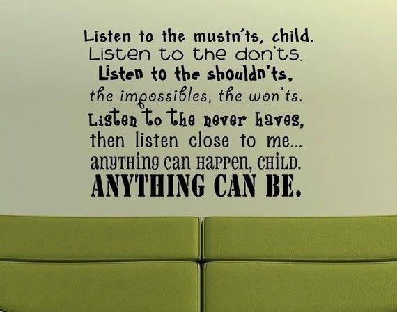 Shel Silverstein Wall Decal: Vinyl Decor, Words, Letter Wall