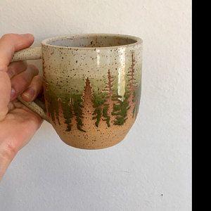 Blue Pine Tree Ceramic Mug