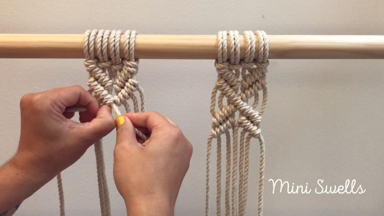 Macramé Tutorial - How to make a X shape pattern  #macrame