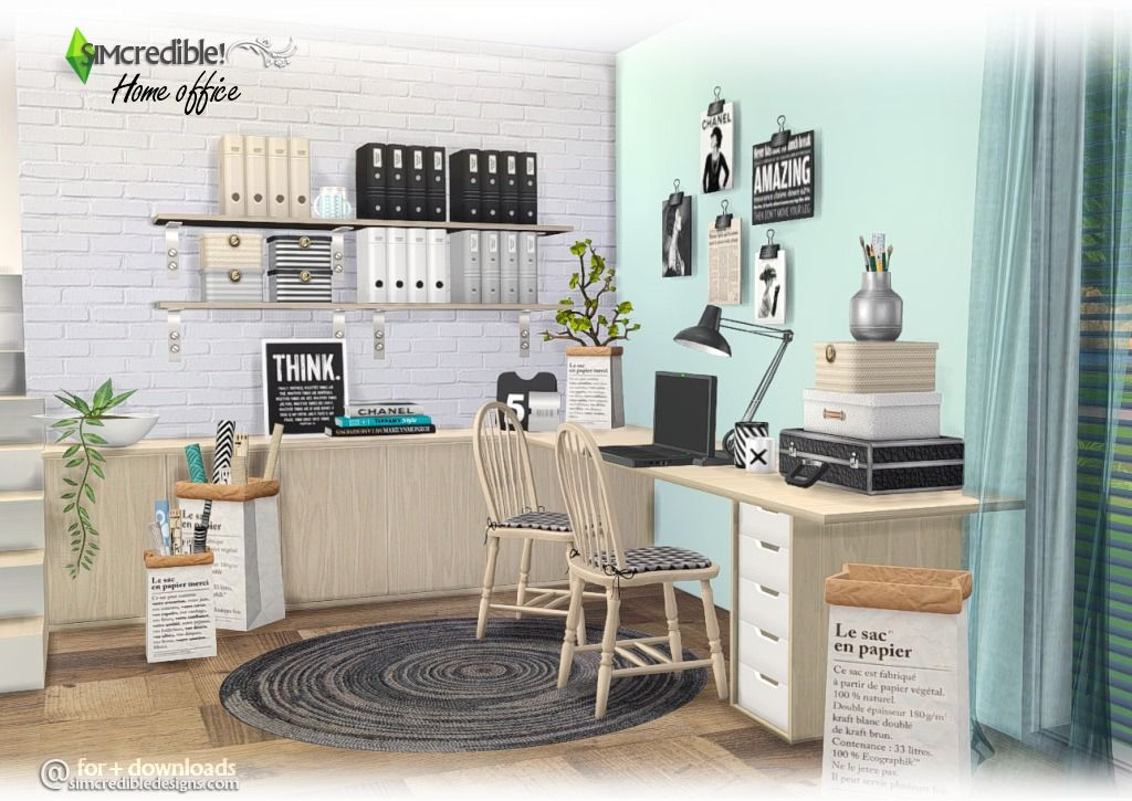 Home Office by SIMcredible! Home, Sims 4, Furniture