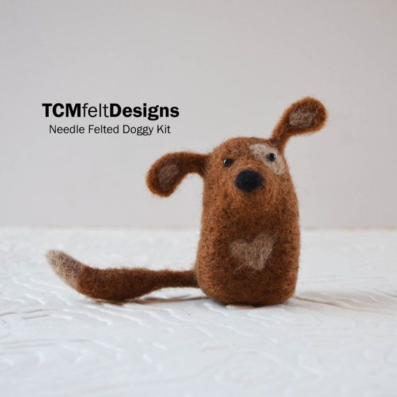 Needle Felting Doggy Kit lana animale fibra cane di TCMfeltDesigns