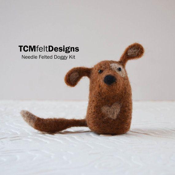Needle Felting Doggy Kit lana animale fibra cane di TCMfeltDesigns