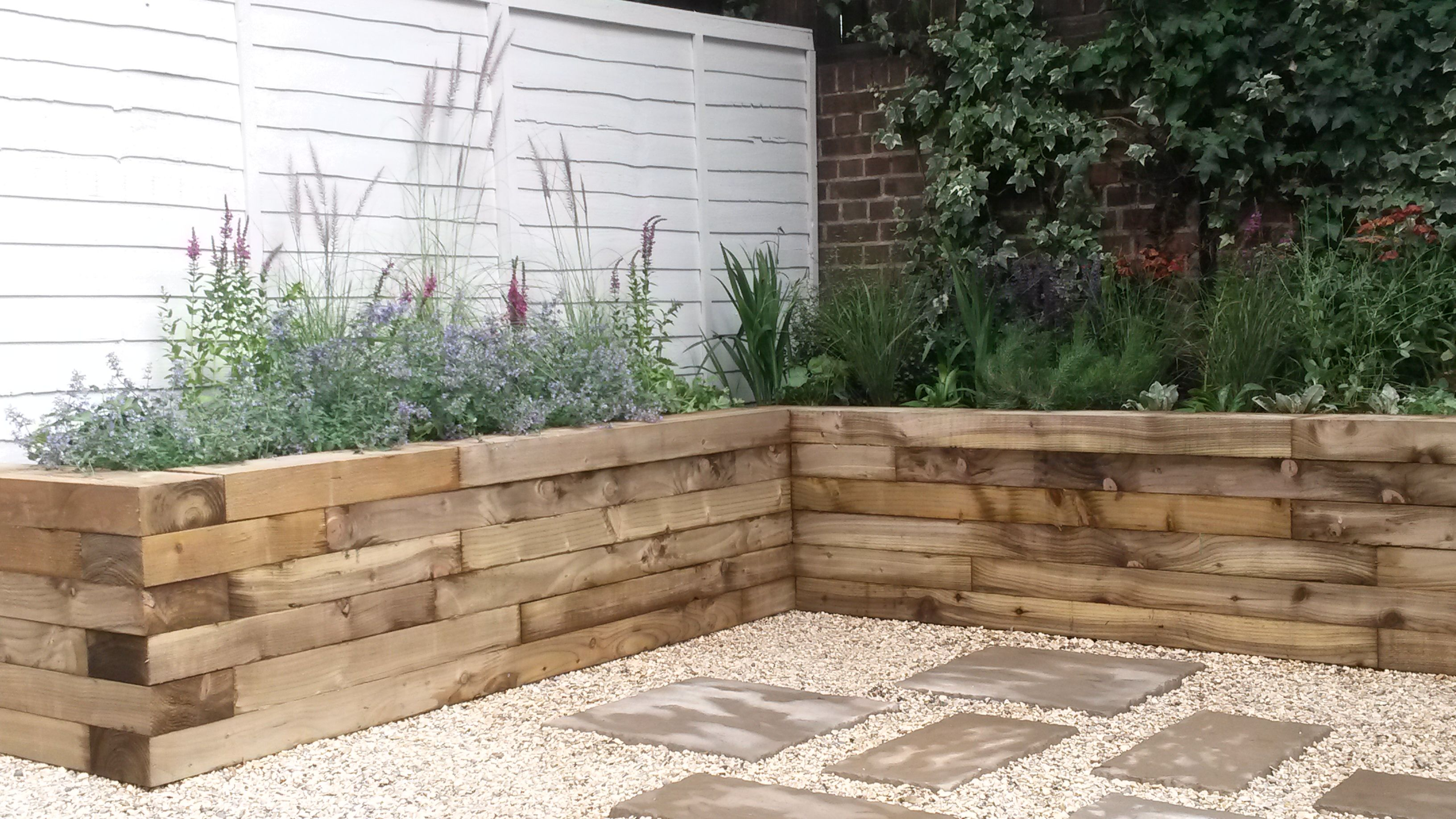 Raised Beds Made Of Railway Sleepers Planted With Low Maintenance