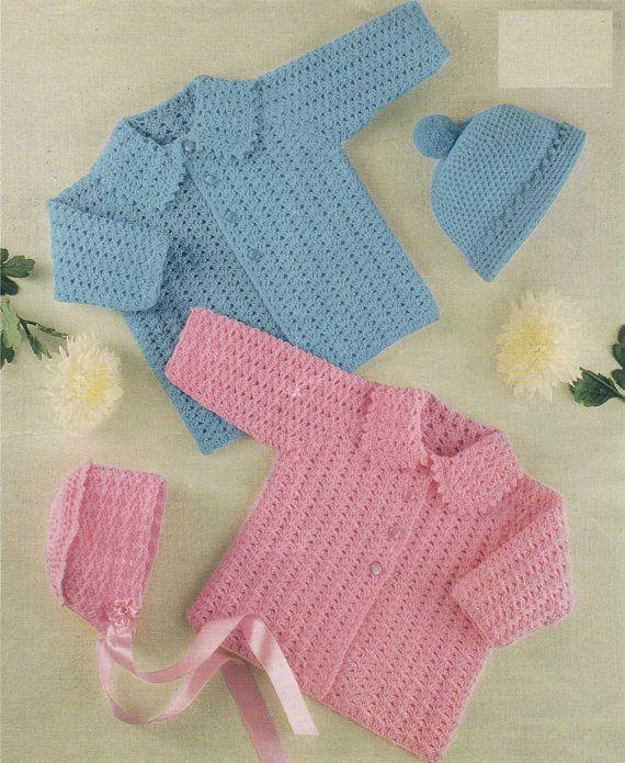 801b5d467cc6 Babies Crocheted Stunning Mattinee Coat and Hat Pattern PDF No