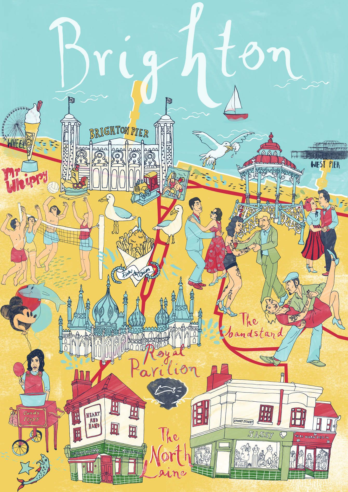 Map Of England Brighton.Brighton Map Sia Tzavalas Illustration Map England Brighton Uk