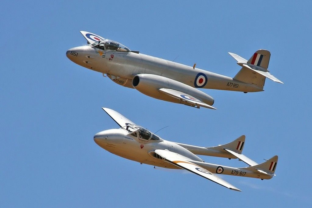 The twin boom tail is a de Havilland Vampire and the other is a Gloster Meteor both belong to Temora Aviation Museum. Both types saw service in the RAAF.