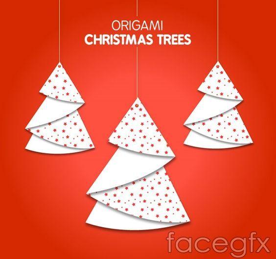 Photo of Origami Christmas tree ornaments vector