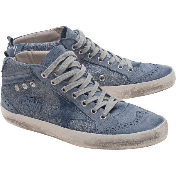 GOLDEN GOOSE Mid Star Blue Glitter // Leather sneakers in glitter... (23.405 RUB) ❤ liked on Polyvore featuring shoes, sneakers, blue trainers, golden goose sneakers, blue sneakers, star sneakers and blue shoes