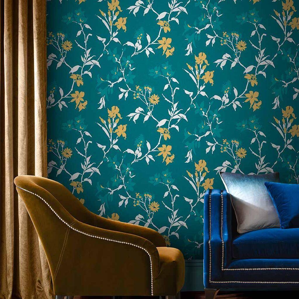 Aeris Teal Wallpaper Yellow Wallpaper Graham & Brown
