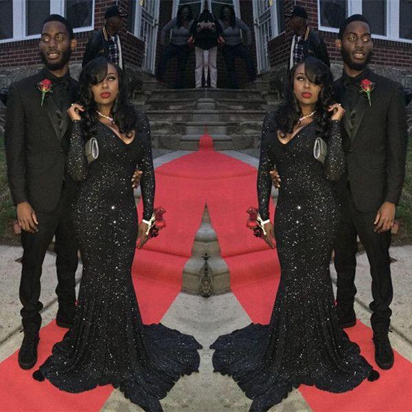 Sequin Black dress long prom