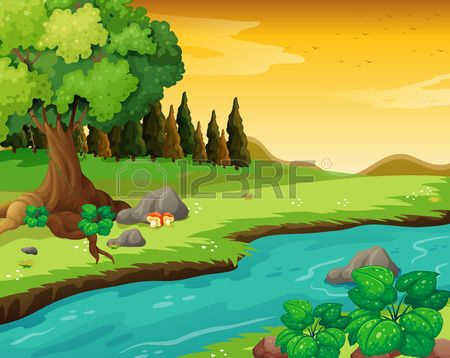 Illustration Of The Flowing River At The Forest Illustration Landscape Illustration Scenery Pictures