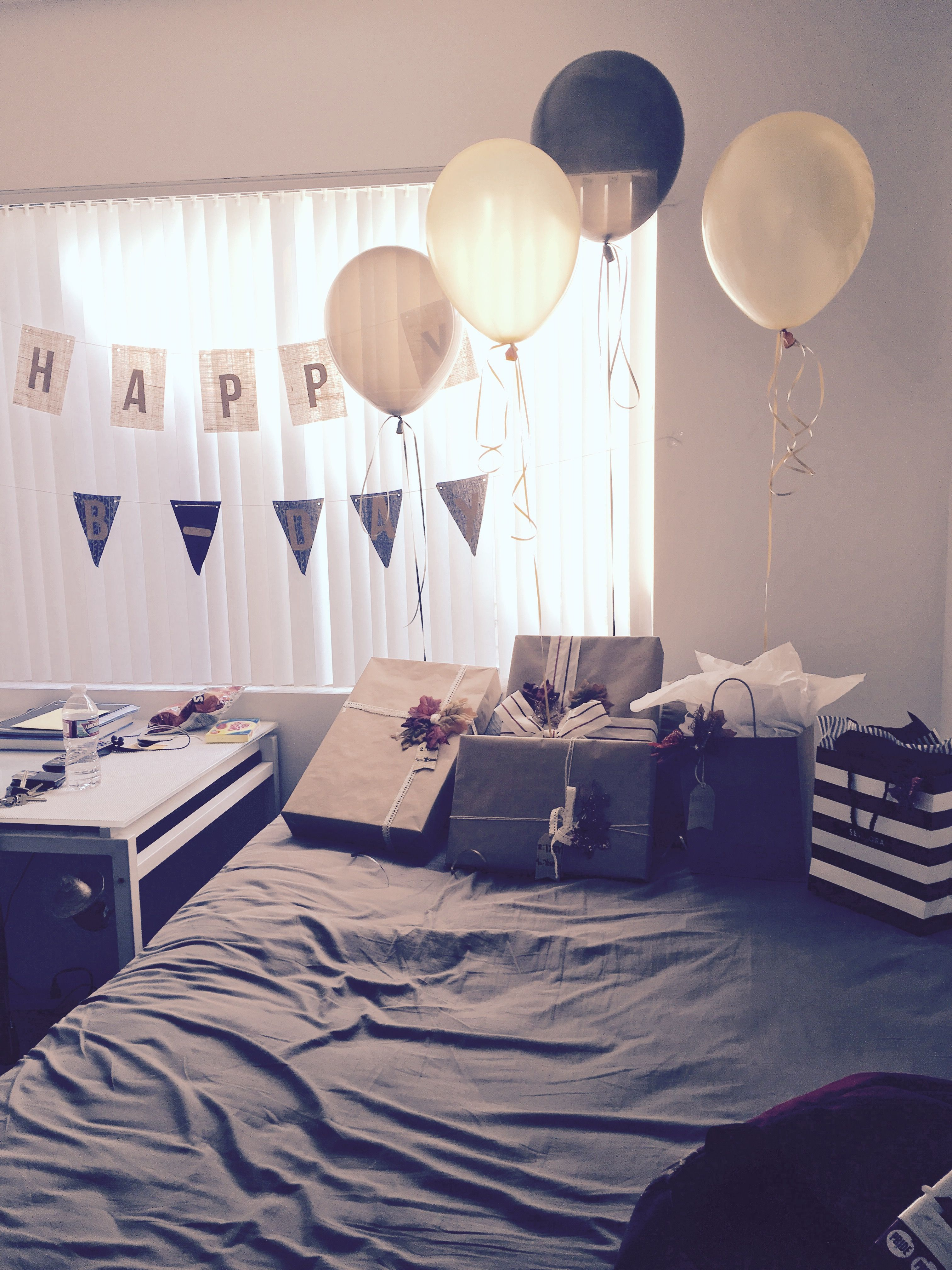 Presents Birthday Surprises For Him Surprise Boyfriend Hubby Best Friend Also Made Cupcakes Got Balloons And