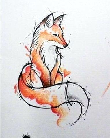 Drawings Of Foxes Fox Watercolour Watercolour Drawings Tattoo