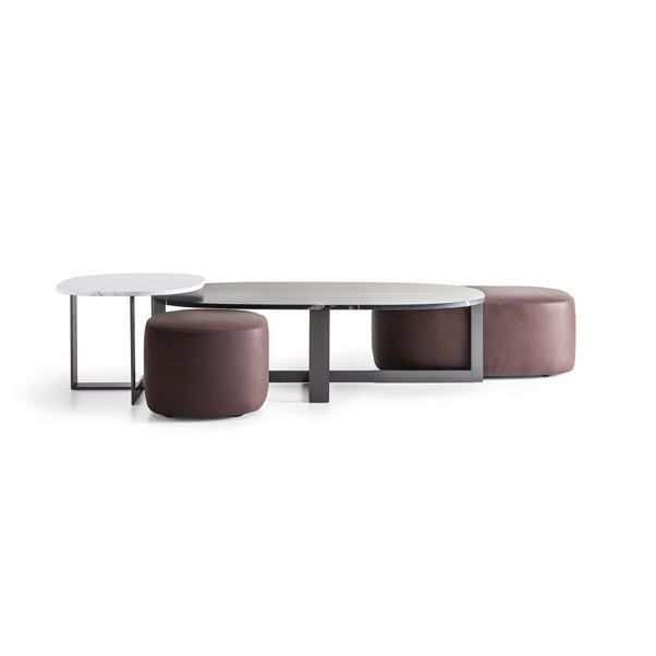 Coffee table oval round contemporary DOMINO NEXT by Nicola