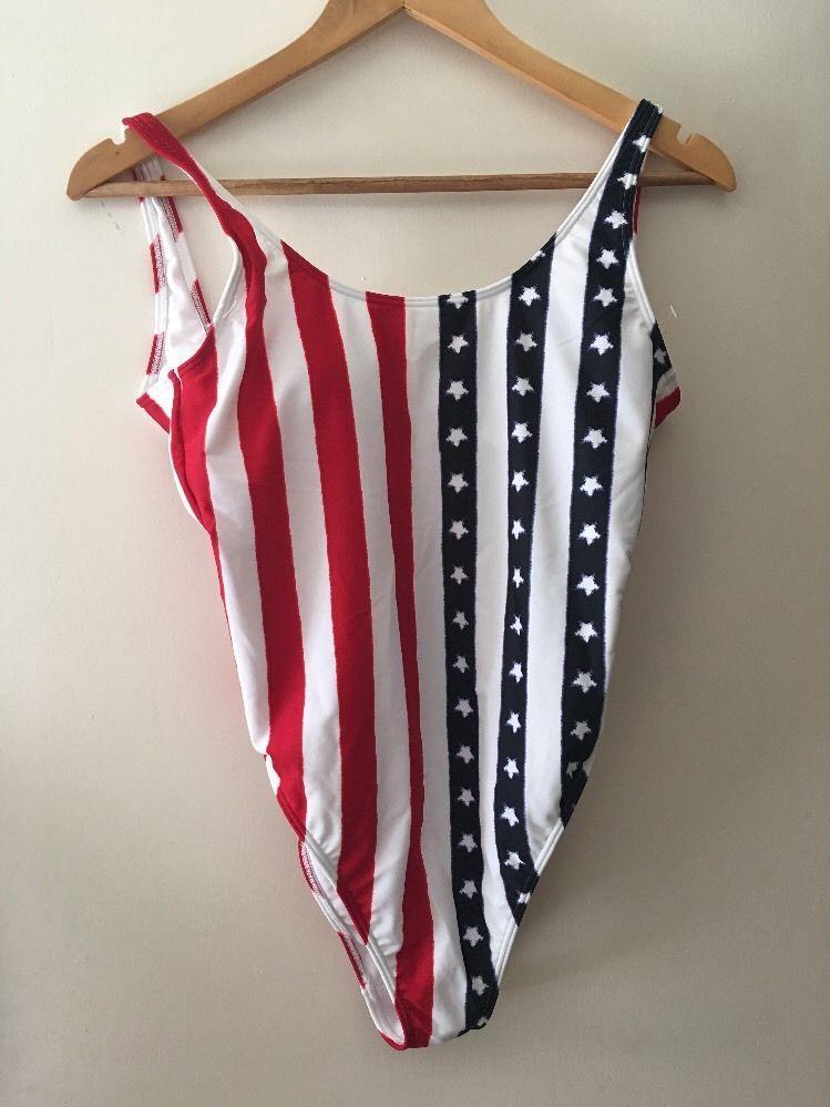 0ca4c9b4055d Hollister Swimsuit Swimming Costume One Piece USA American Flag Size M  Stars Str  Hollister
