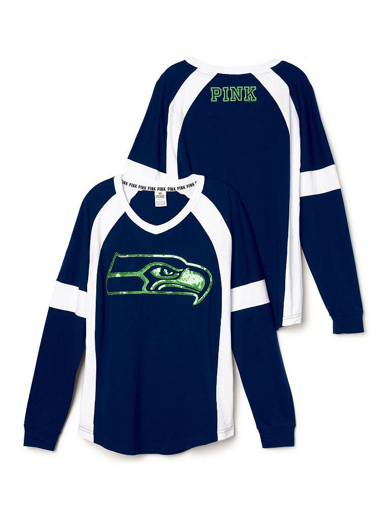 Seattle Seahawks Bling Varsity Crew £45.94 - PINK - Victoria s Secret 9b1fdf424