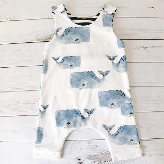 Organic Baby Harem Romper Watercolor Whales Summer Romper Baby