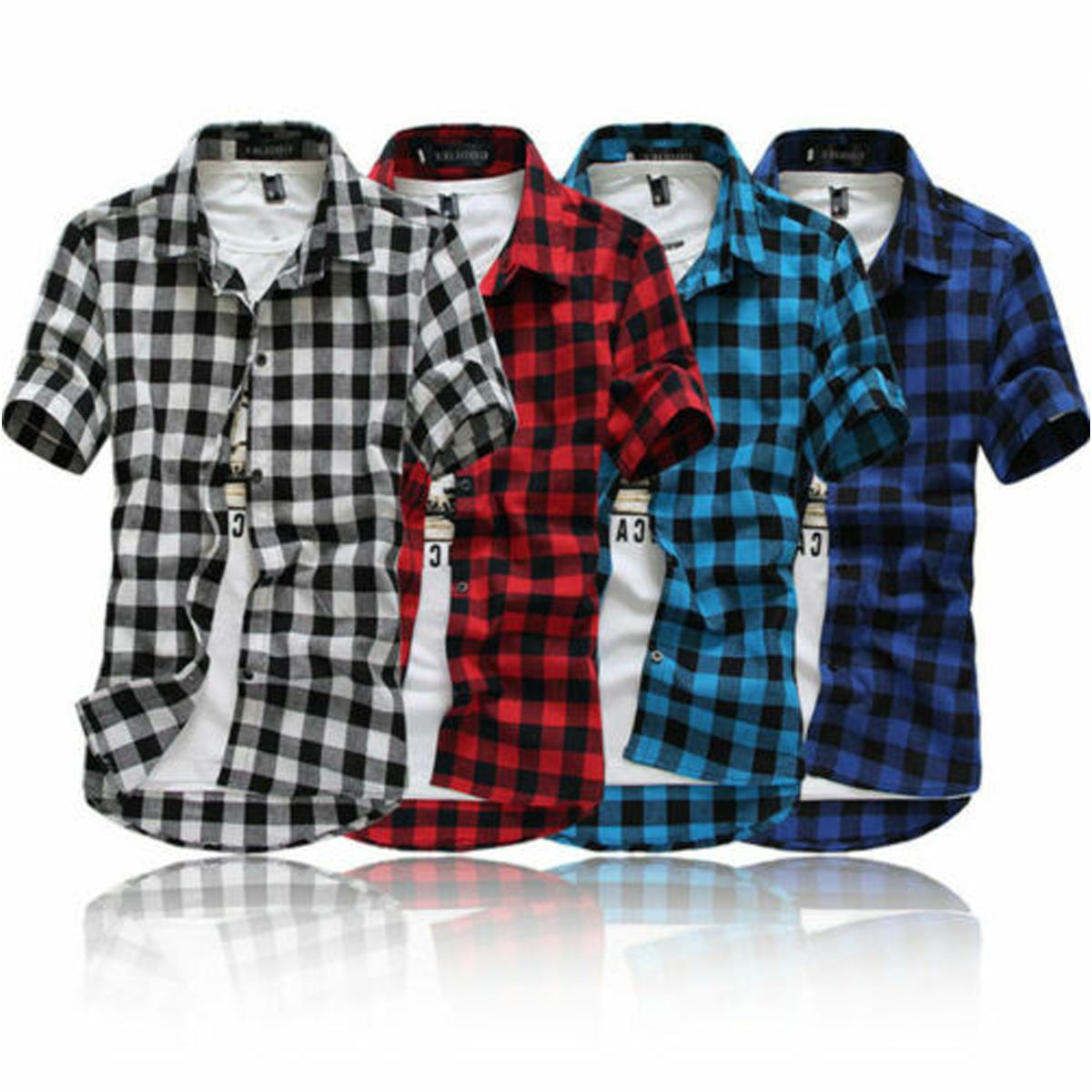 Merqwadd Men S Summer Casual Dress Shirt Mens Plaid Short Sleeve Shirts Tops Walmart Com Mens Shirt Dress Mens Shirts Plaid Shirt Men [ 1200 x 1200 Pixel ]