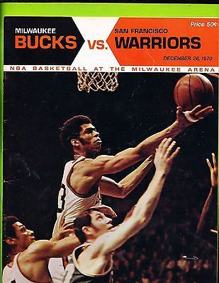 Game Program: December 26, 1970  San Francisco Warriors @ Milwaukee Bucks