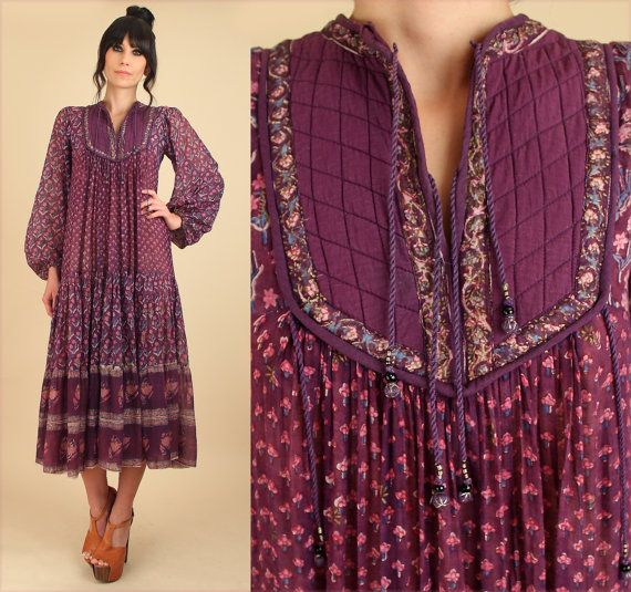 bbb844c832 ViNtAgE Indian Gauze Cotton Dress 70's Bohemian Style Fashion by  hellhoundvintage