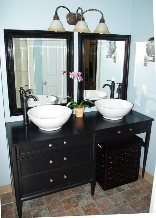 Desk used as bathroom vanity. Love this idea. | Crafty Decor ...