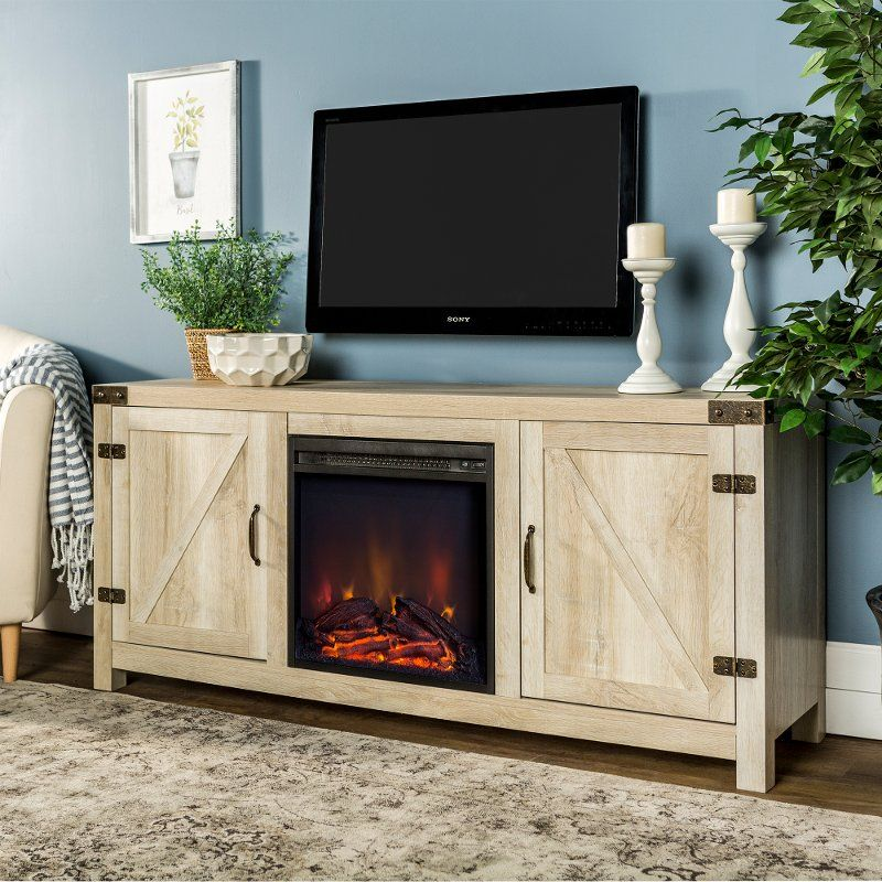 White Oak 58 Inch Farmhouse Fireplace TV Stand in 2020
